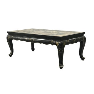 Mid-Century Chinese Hand-Painted Black Lacquer Low Table/Coffee Table For Sale