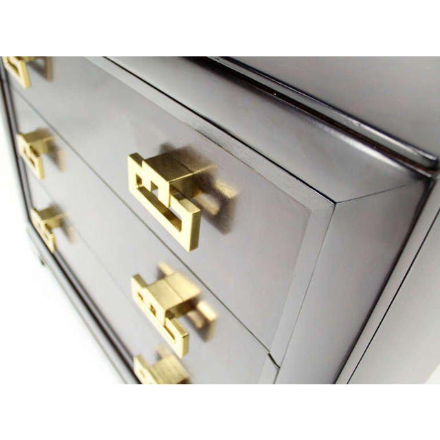 Mid-Century Modern Kittinger Modern Heavy Solid Bachelor Chest with Brass Pulls For Sale - Image 3 of 7