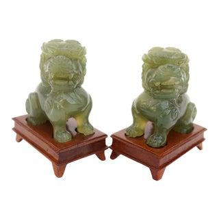 Vintage Nephrite Jade Stone Guardian Foo Dog Figurines - a Pair For Sale