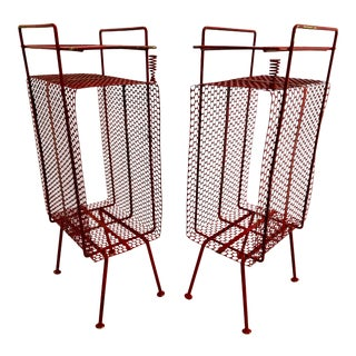 Mid-Century Modern Perforated Atomic Metal Magazine Holder/Side Table - 2 Pieces For Sale