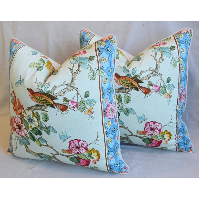 """Blue English Chinoiserie Floral & Birds Feather/Down Pillows 24"""" Square - Pair For Sale - Image 8 of 13"""