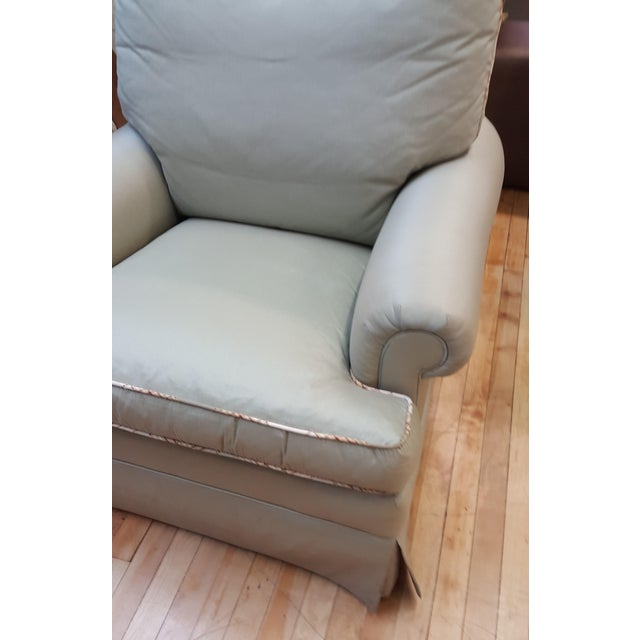 Hickory Chair floor sample in great condition Mint green cover with contrasting welt Plush down cushions, blend down back...