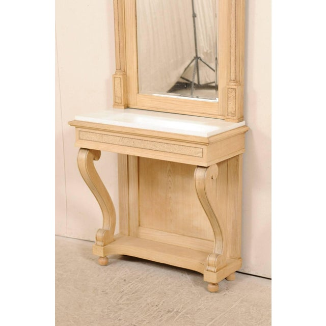Swedish Empire Period Elm Wood Console With Marble Top From Early 19th Century For Sale - Image 10 of 11