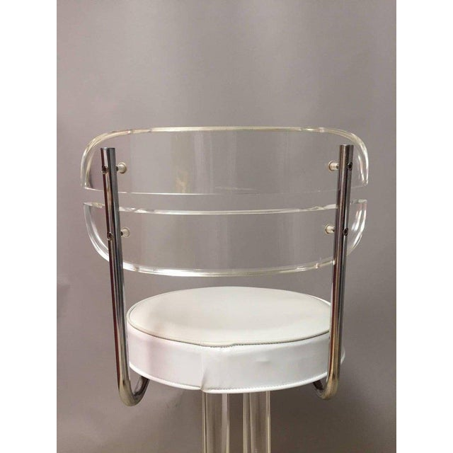 Lucite, Chrome and Patent Leather Bar Stools - A Pair - Image 4 of 7