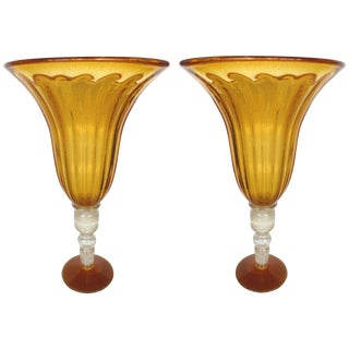 Monumental Pair of Blown Murano Glass Urns With Infused Gold Flakes For Sale