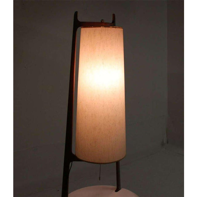 Early 20th Century Mid-Century Modern Walnut Floor Lamp with Side Table For Sale - Image 5 of 7