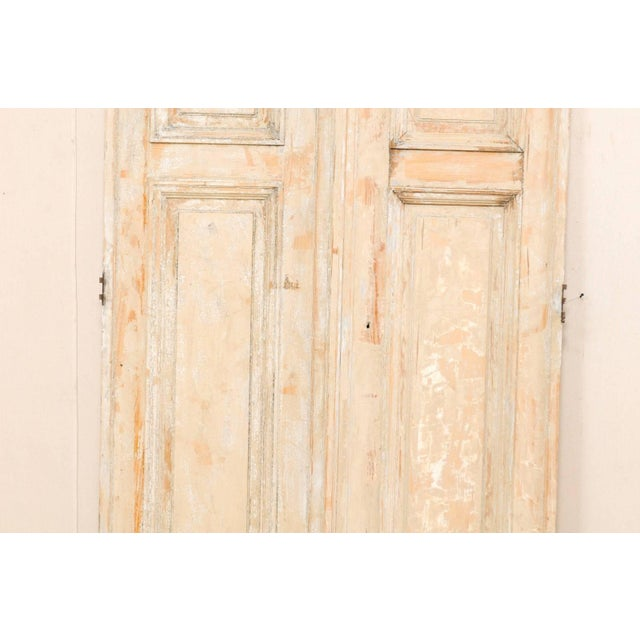 Cream Pair of 19th Century Painted Wood French Doors With Nice Recessed Panels For Sale - Image 8 of 10
