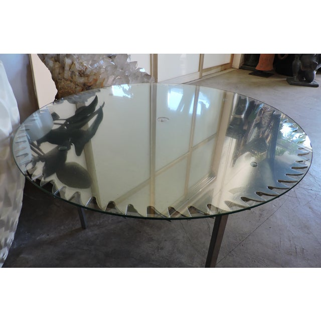 Sitting beneath a round of glass, this chrome powder-coated table saw was used in the building of many of San Francisco's...