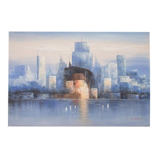 Urban Cityscape Skyline Painting by Bonsall For Sale