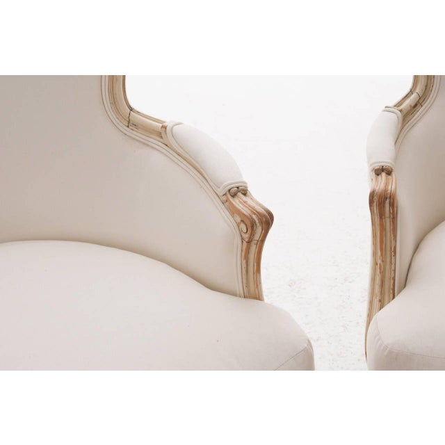 French 19th Century French 19th Century Louis XV Painted Bergères - a Pair For Sale - Image 3 of 11
