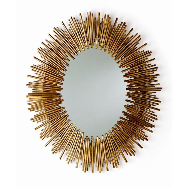 Arteriors Prescott Antiqued Gold Oval Iron Mirror - Image 2 of 4