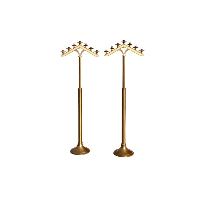 Free Standing Seven Branch Floor Menorah - a Pair For Sale