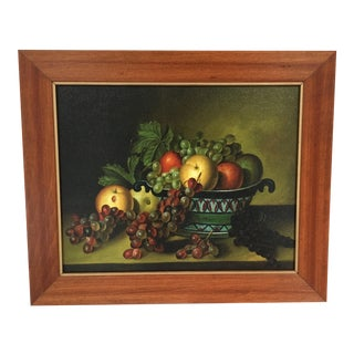 Framed Still Life Bowl of Fruit Painting For Sale