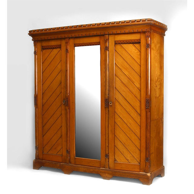 English Arts & Crafts Pine Armoire Cabinet For Sale In New York - Image 6 of 6