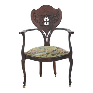 Antique English Hunting Scene Side Chair For Sale