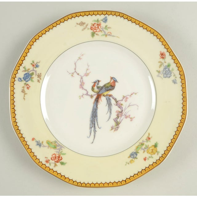Beautiful Boho birds and florals decorate this rich set of 8 vintage dinner plates made in Europe. In fair to good...