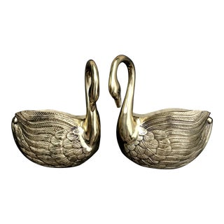 1990s Vintage Hollywood Regency Brass Swan Wall Pockets - a Pair For Sale