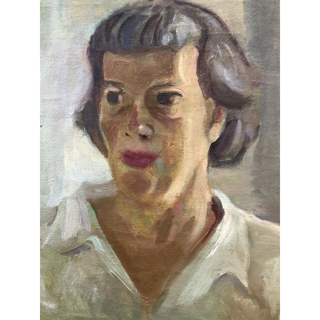 Expressionism Original Vintage Impressionist Female Portrait Painting by Helena Beecham For Sale - Image 3 of 5