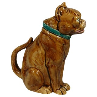 Late 19th Century Antique George Dreyfus Majolica Brown Bulldog Pitcher For Sale