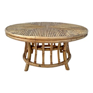 Mid-Century Round Bamboo and Wicker Table For Sale