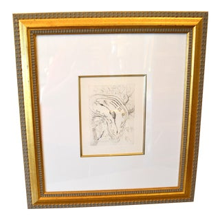 "Gold Framed Salvador Dali Inspired ""Melting Clock"" Etching Print For Sale"