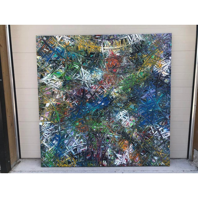 """Acrylic Painting by Artist Troy Smith - Title, In The Line Of Fire. Contemporary Art - Abstraction Dimensions - 79"""" x 79""""..."""
