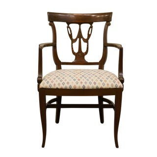 Late 20th Century Federal Style Mahogany Dining Arm Chair For Sale