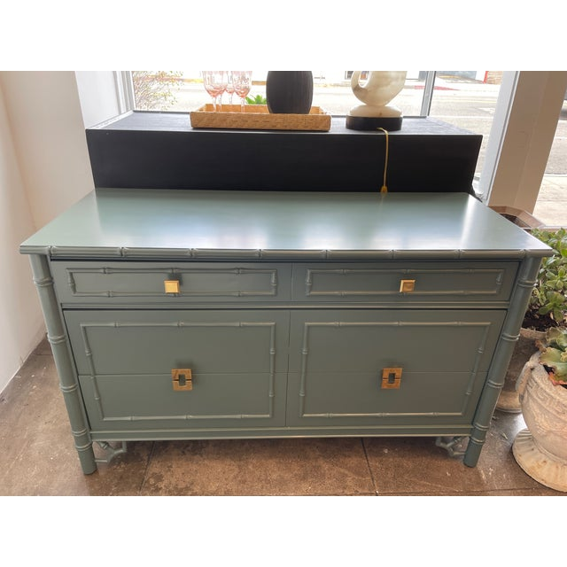 Green 1960s Thomasville Chinoiserie Allegro Lowboy Dresser/Chest For Sale - Image 8 of 10