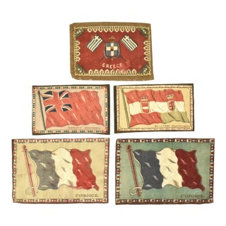 Antique Felt French, British, Greek, & Austro-Hungarian Cigar Box Liner Flags - Set of 5 For Sale