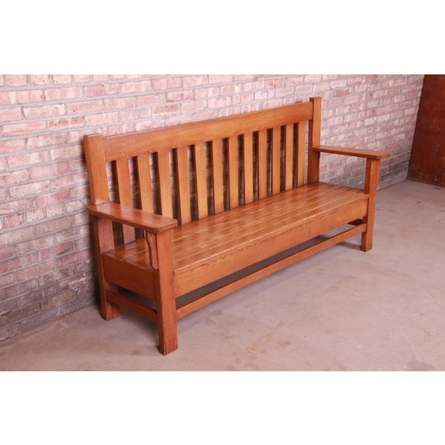 Early 20th Century Antique Stickley Style Arts & Crafts Solid Oak Settle or Bench For Sale - Image 5 of 13