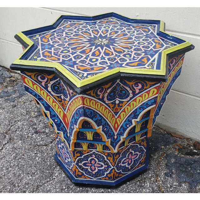 Moroccan Sm Ceuta 2 Painted and Carved Star Table, Multi-Color For Sale - Image 4 of 8
