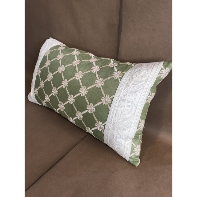 Textile Transitional Green Pillow W/ Natural Embroidered Flower Lattice For Sale - Image 7 of 11