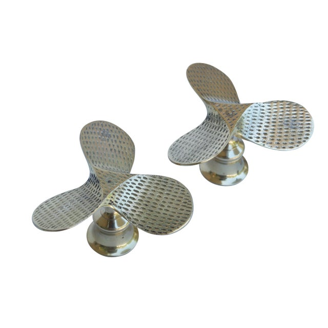 Brass Propeller Candle Holders, a Pair For Sale - Image 4 of 6