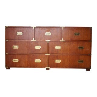 20th Century Campaign Baker Furniture Mahogany Dresser For Sale