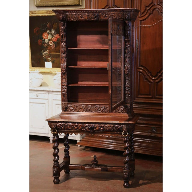 Mid-19th Century French Louis XIII Heavily Carved Oak Secretary Bookcase Desk For Sale In Dallas - Image 6 of 13
