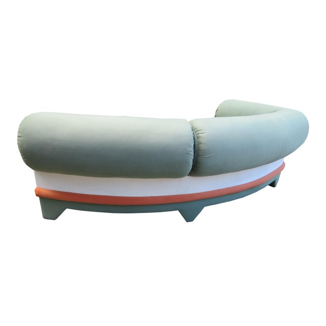 Vladimir Kagan 1970s Contemporary Circular Curved Ultrasuede Sectional Sofa For Sale - Image 4 of 12