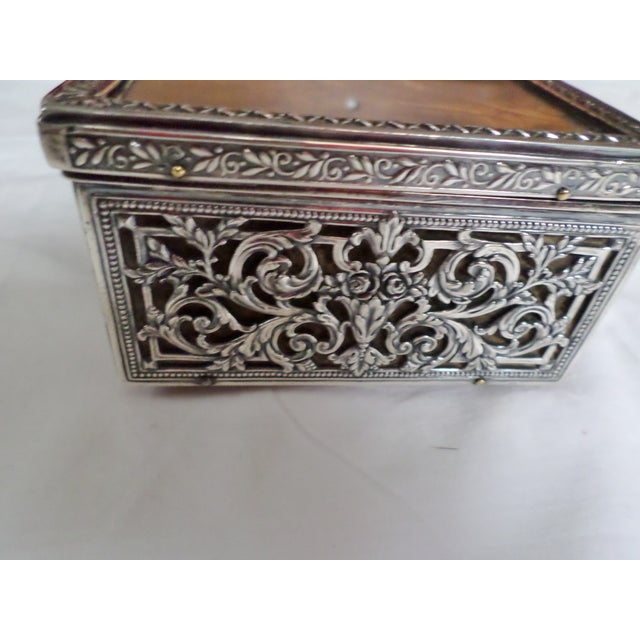 Silver Antique Baroque Sterling Silver Music Box Trinket Box For Sale - Image 8 of 11