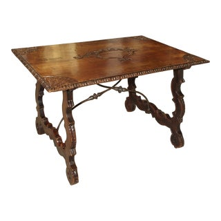 18th Century Catalan Table With Forged Iron Stretchers For Sale