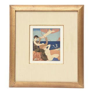 "Georges Barbier Custom Framed Pochoir from the Portfolio "" Chansons de Biilitis"" For Sale"