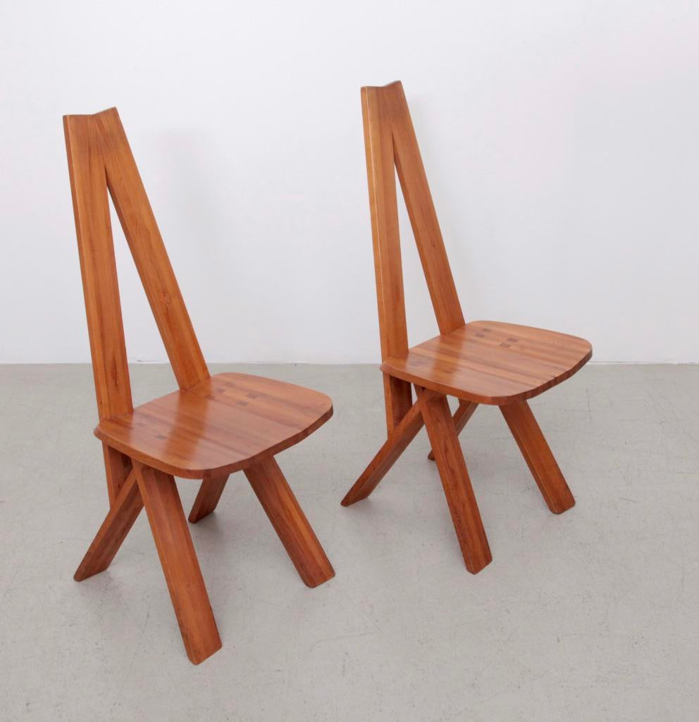 Excellent Pair Of Two Pierre Chapo S45 Chairs In Solid Elm Decaso