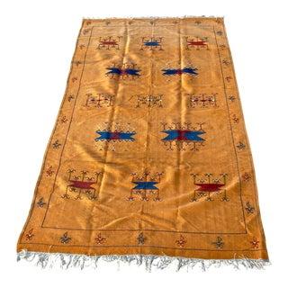 Moroccan Vintage Flat-Weave Sunflower Color Rug For Sale