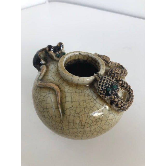 Green Crackle-Glazed Water-Pot With Applied Snake and Rat For Sale - Image 8 of 11