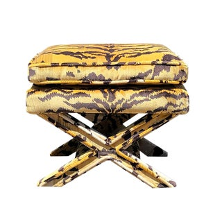 1950s Vintage Tiger Print X Bench Stool For Sale