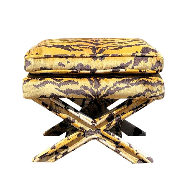 Billy Baldwin 1950s Vintage Tiger Print X Bench Stool in Tiger Print Attributed to Scalamandre For Sale