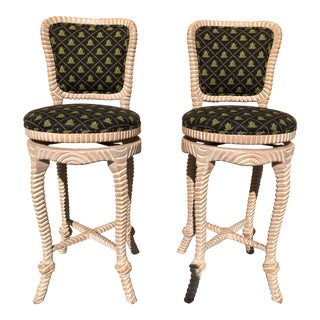 Swivel Rope Bar Stools, Pair For Sale