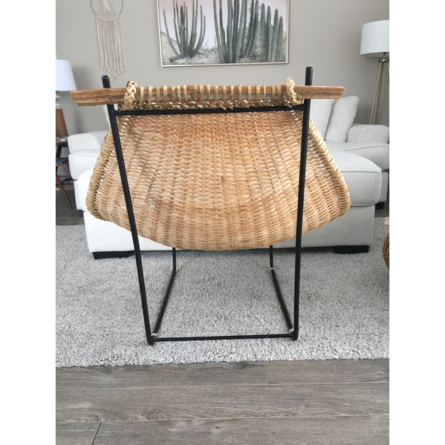 Vintage Mid Century John Risley Rattan & Iron Lounge Chair For Sale In Seattle - Image 6 of 12