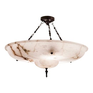 Contemporary Visual Comfort Alexa Hampton Charles Large Alabaster Chandelier For Sale