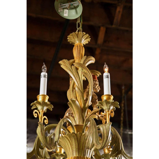 French Wood Foliate Chandelier For Sale - Image 5 of 7