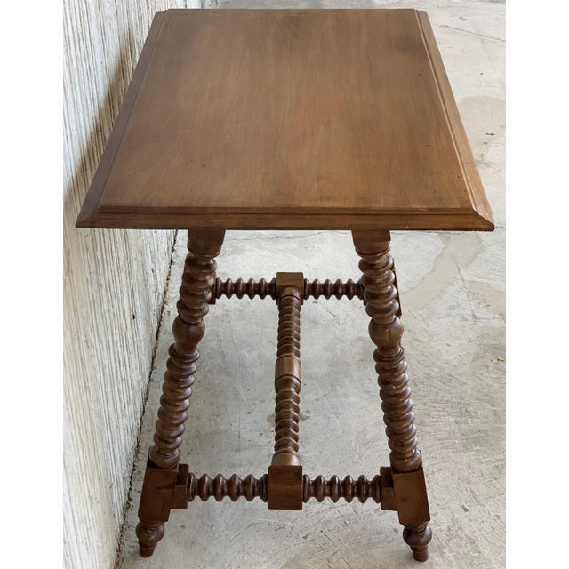 Spanish Baroque Side Table With Wood Stretcher and Carved Top in Walnut For Sale In Miami - Image 6 of 13
