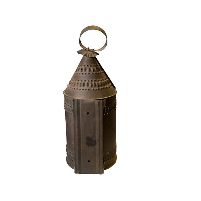 Early 1800s Punched Tin Candle Lantern For Sale - Image 5 of 5